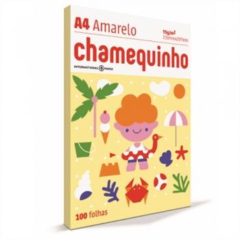 PAPEL SULFITE A4 100F 75G AMARELO CHAMEQUINHO