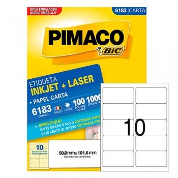 ETIQUETA 6183 CARTA INKJET/LASER 100 FLS.(10) PIMA