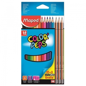 LAPIS 12 CORES COLOR PEPS STAR 3 LAPIS GRAF. MAPED