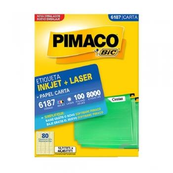 ETIQUETA 6187 CARTA INKJET/LASER 100 FLS.(80) PIMA