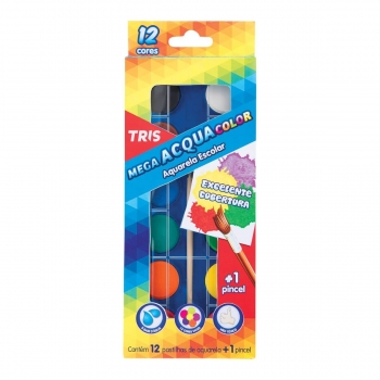 AQUARELA ESTOJO 12 CORES PINCEL PAINT TRIS