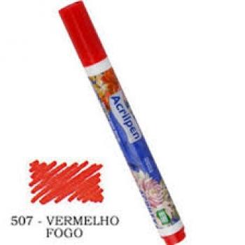 CANETA TECIDO ACRILPEN VERMELHO FOGO 507 ACRILEX