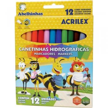 CANETA HIDR 12 CORES ABELHINHAS REF.16922 ACRILEX